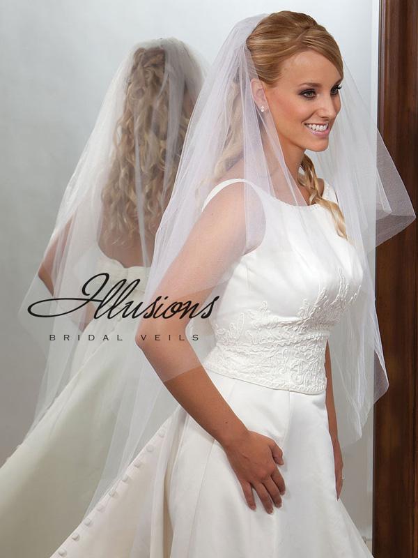 Illusions Bridal Cut Edge Veil C7-452-CT: Pearl Accent