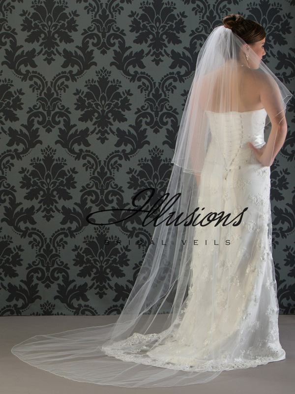 Illusions Bridal Corded Edge Veil C7-902-C: Pearl Accent, 2 Layer Long