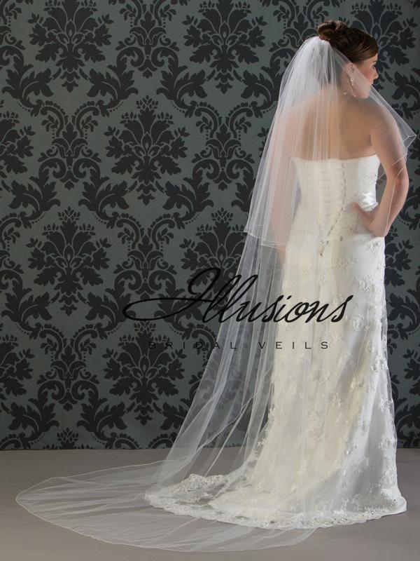 Illusions Bridal Corded Edge Veil C7-902-C: Rhinestone Accent