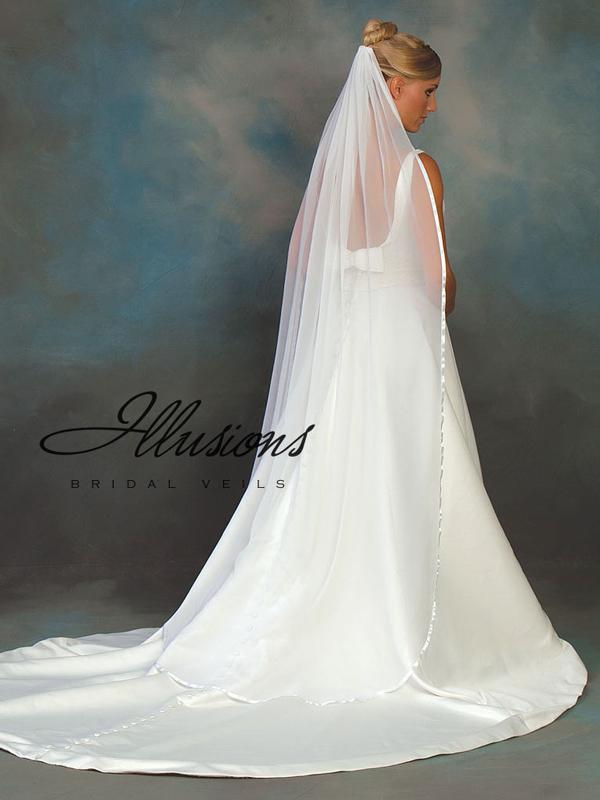 Illusions Bridal Ribbon Edge Veil CH-721-3R: Rhinestone Accent