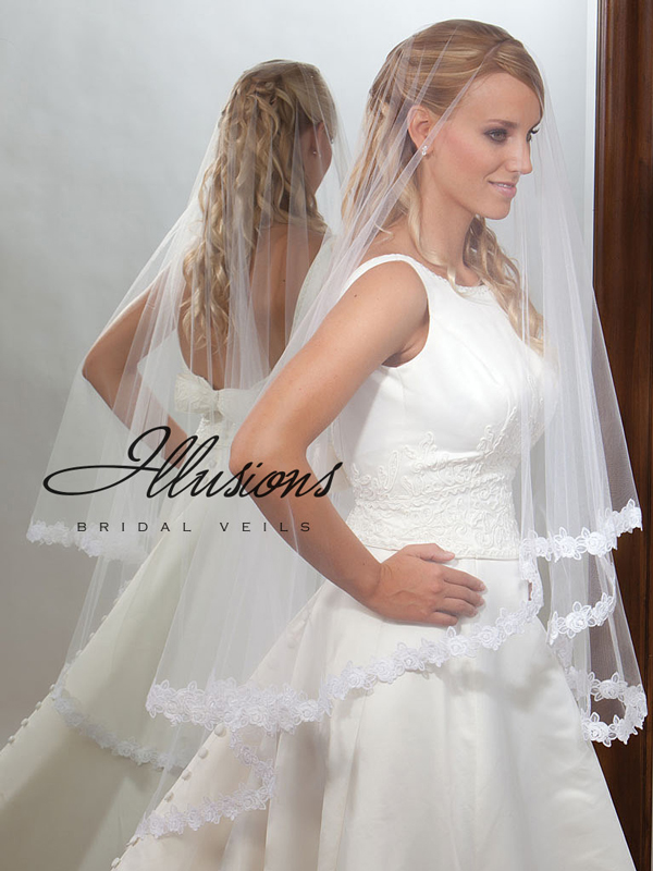 Illusions Bridal Lace Edge Veil D7-452-5L: Pearl Accent