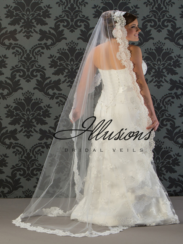 Illusions Bridal Lace Edge Wedding Veil M7-721-1L: Rhinestone Accent, Mantilla