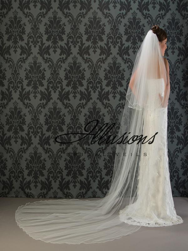 Illusions Bridal Soutache Edge Veil S1-1202-ST: Pearl Accent