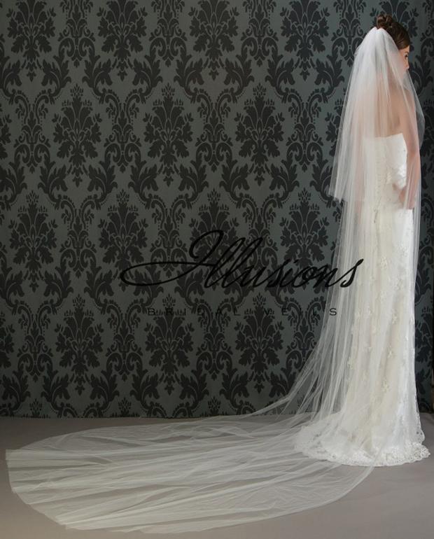 Illusions Bridal Cut Edge Veil S1-1442-CT: Pearl Accent