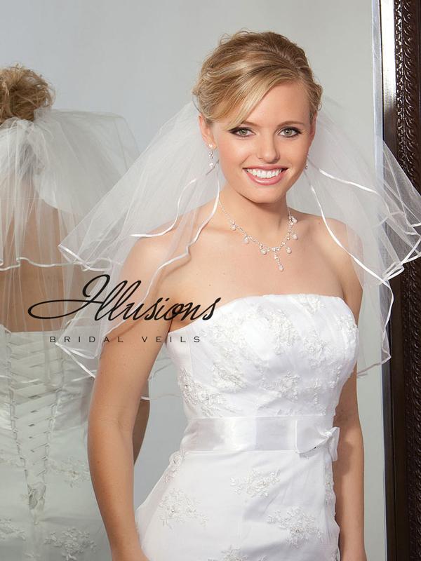 Illusions Bridal Ribbon Edge Veil S1-202-1R: Rhinestone Accent