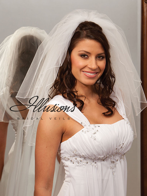 Illusions Bridal Corded Edge Veil S1-202-C: Pearl Accent