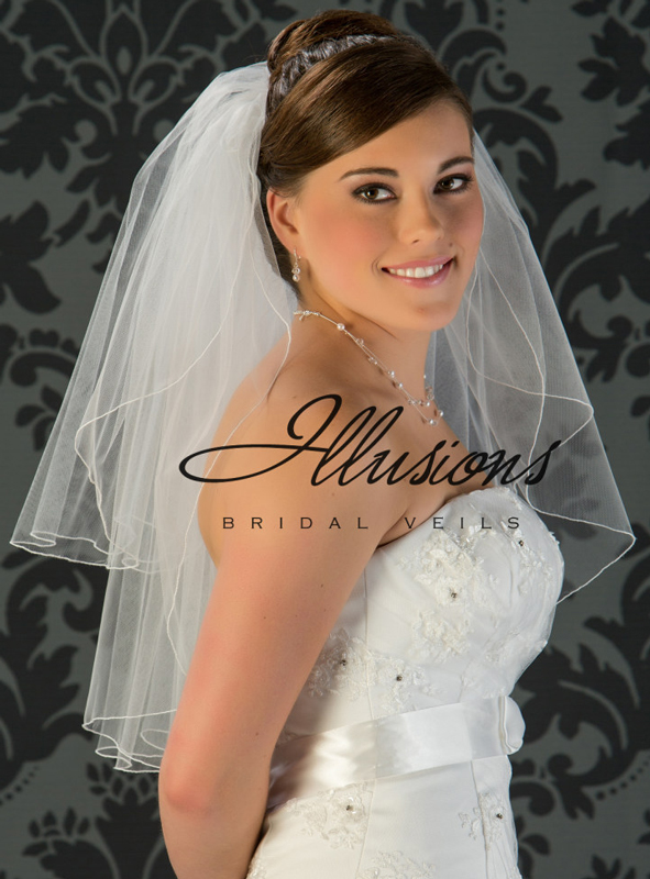 Illusions Bridal Corded Edge Veil S1-252-C: Pearl Accent