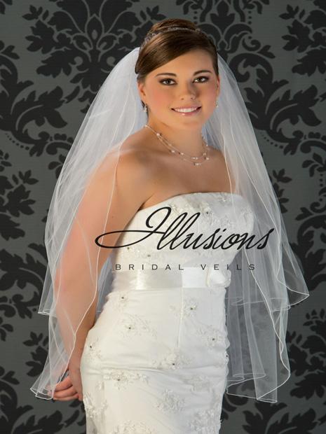 Illusions Bridal Fingertio Length Veil S1-362-C: Rhinestone Accent