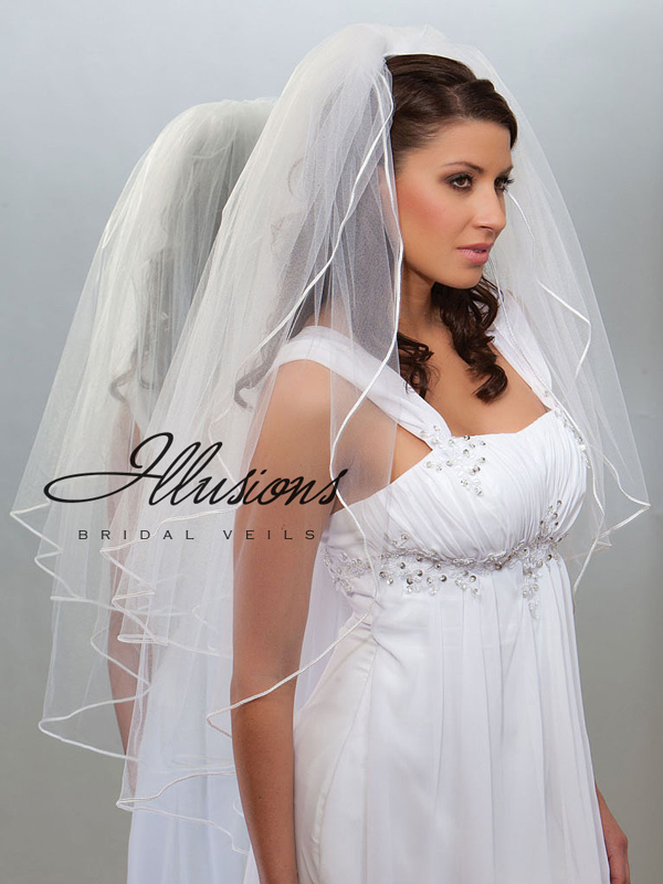 Illusions Bridal Soutache Edge Veil S1-362-ST: Rhinestone Accent