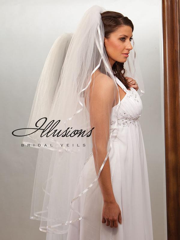 Illusions Bridal Ribbon Edge Veil S1-452-3R: Pearl Accent