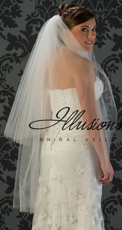 Illusions Bridal Cut Edge Veil S1-452-CT: Pearl Accent, 2 Layer Knee Length