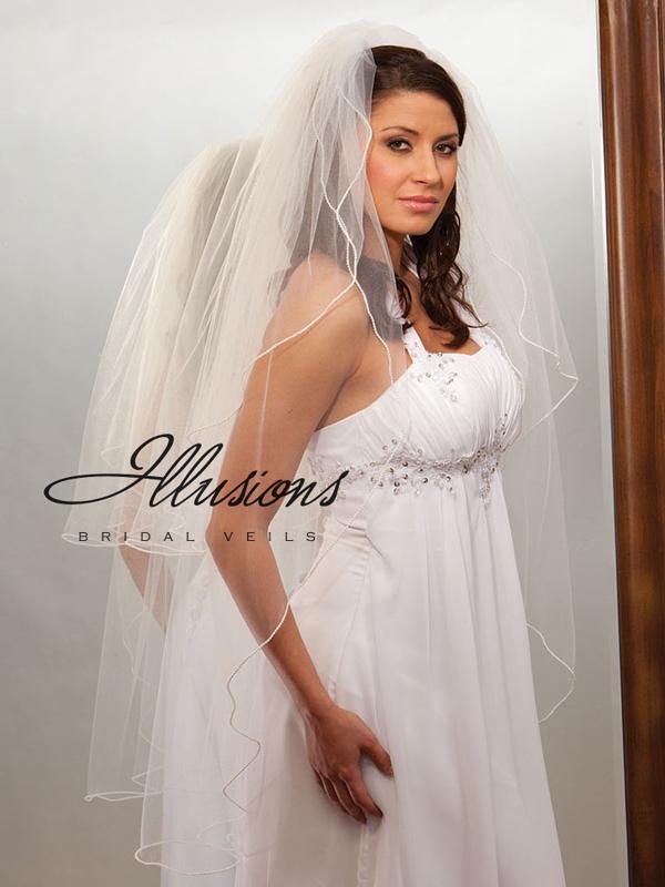 Illusions Bridal Pearl Edge Veil S1-452-P: Rhinestone Accent