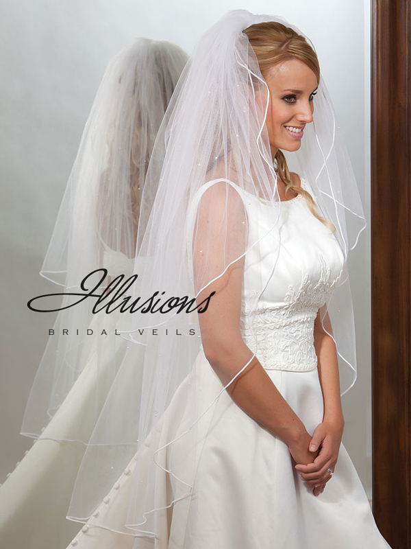 Illusions Bridal Soutache Edge Veil S1-452-ST-P