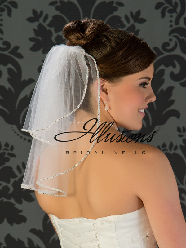 Illusions Bridal Rhinestone Edge Veil S5-152-RS: Rhinestone Accent