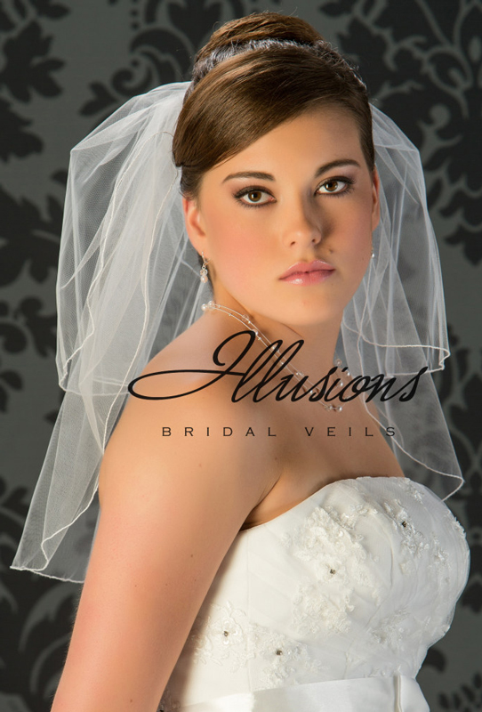 Illusions Bridal Corded Edge Veil S5-202-C: Rhinestone Accent