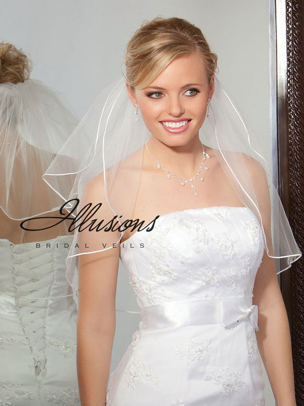 Illusions Bridal Soutache Edge Veil S5-202-ST: Pearl Accent