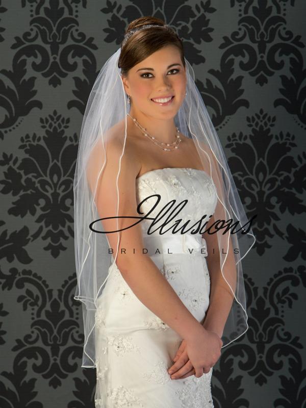 Illusions Bridal Soutache Edge Fingertip Length Veil S5-362-ST