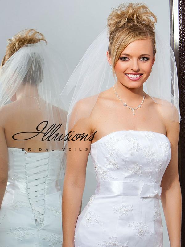 Illusions Bridal Cut Edge Veil S7-252-CT: Rhinestone Accent