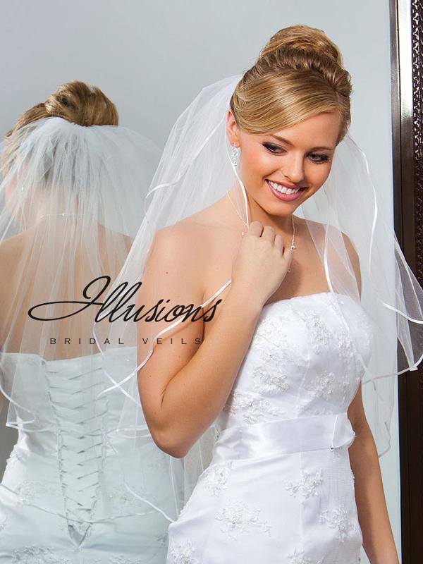 Illusions Bridal Ribbon Edge Veil S7-302-1R: Pearl Accent