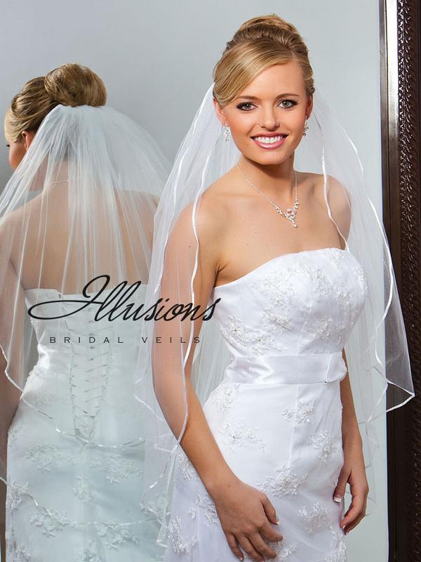 Illusions Bridal Ribbon Edge Veil S7-362-1R: Rhinestone Accent
