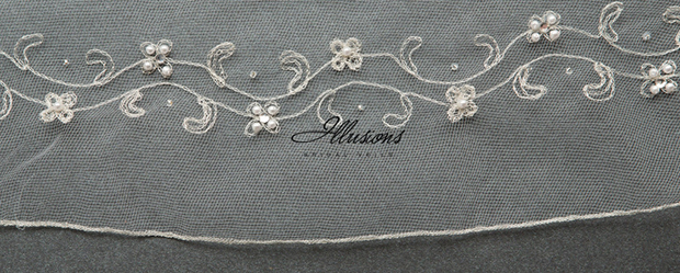 Illusions Bridal Beaded and Specialty Veils V-7028: Silver Edge