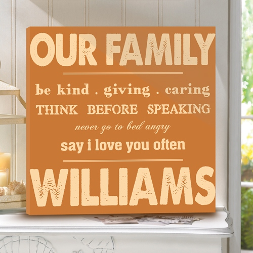 JDS Personalized Canvas Print: Rules of Our Family