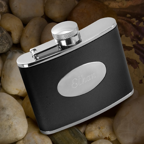 JDS Personalized Leather Flask: Stainless Steel