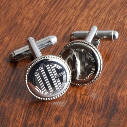 JDS Personalized Cufflinks: Round Beaded, Silver