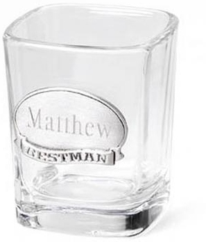 JDS Personalized Shot Glass: with Pewter Emblem