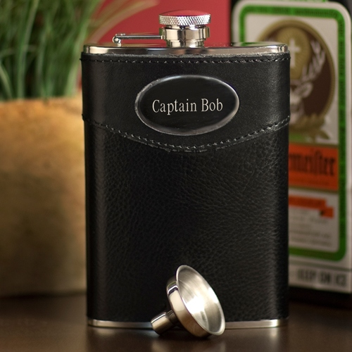 JDS Personalized Leather Flask: 8 oz.