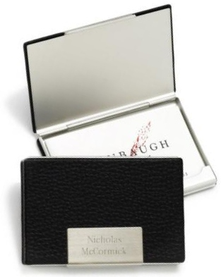 JDS Business Card Case: Black Leather
