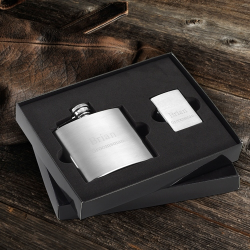 JDS Brushed Flask and Zippo Lighter Gift Set