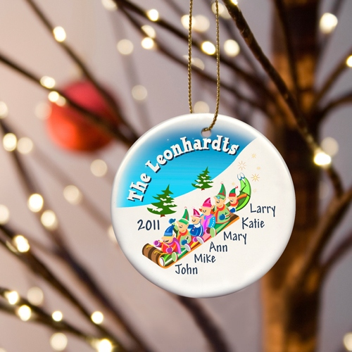 JDS Personalized Elves Family Ornament