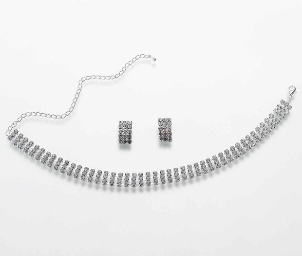 Lillian Rose Rhinestone Band Necklace/Ear Set