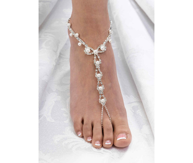 Lillian Rose Set of 2 Pearl and Rhinestone Foot Jewelry