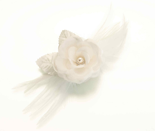 Lillian Rose Flower & Feather Clip/Pin - Ivory