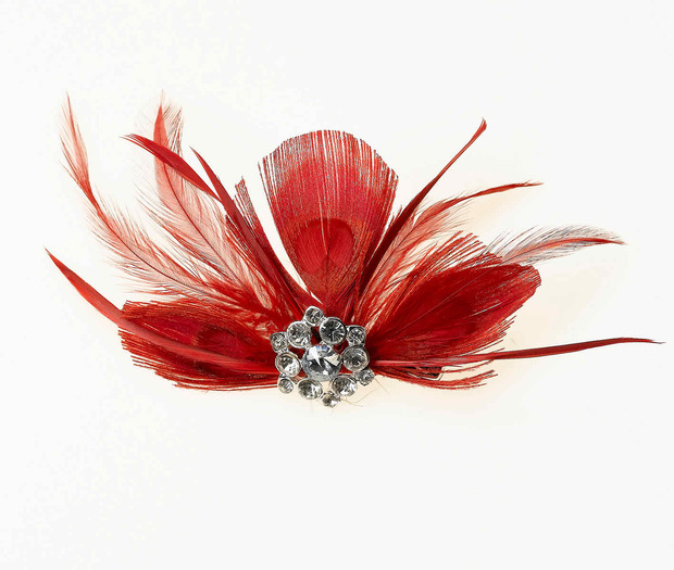 Lillian Rose Feather Hair Clip - Red