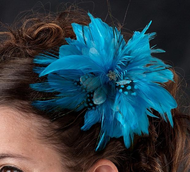 Lillian Rose Feather Hair Clip - Aqua