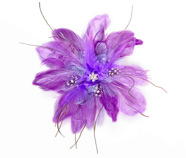 Lillian Rose Feather Hair Clip - Purple