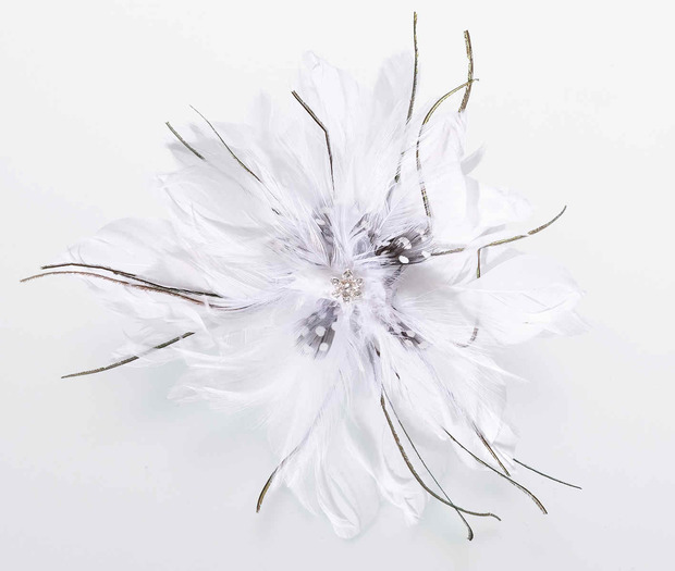 Lillian Rose Feather Hair Clip - White