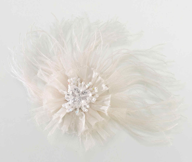 Lillian Rose Marabou Feather Hair Clip - Ivory