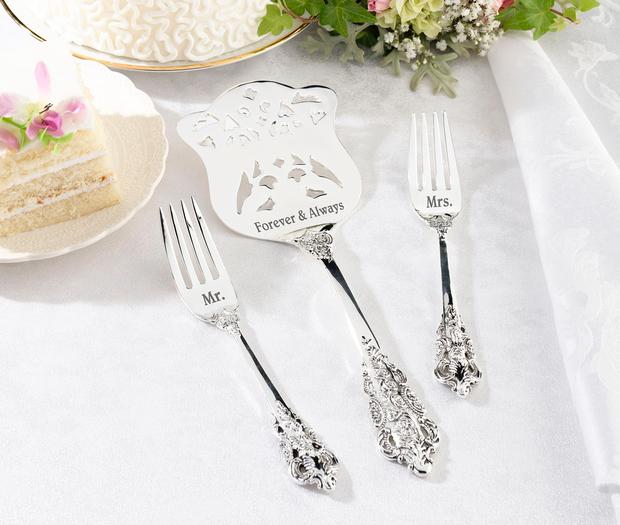 Lillian Rose Silver Server & Two Forks - Mr. & Mrs.