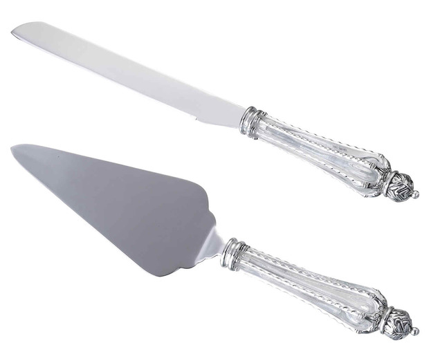 Lillian Rose Crown Knife & Server Set-Clear