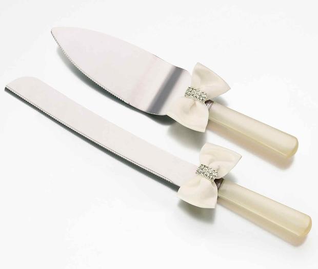 Lillian Rose Rhinestone Knife & Server -Ivory