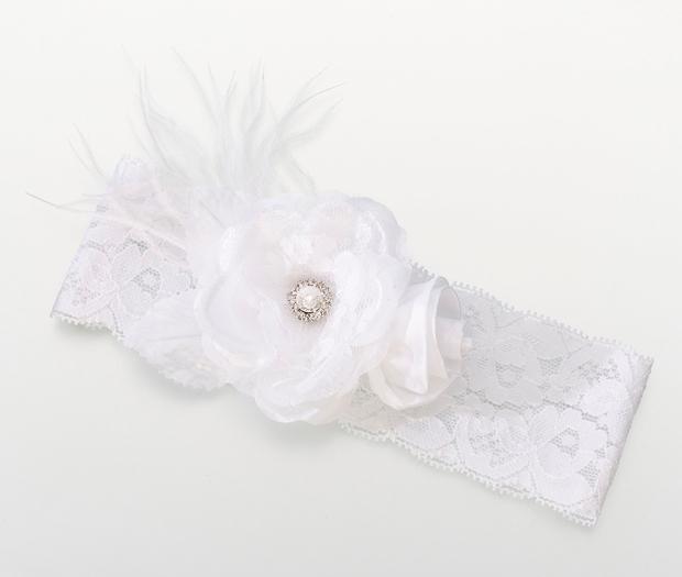 Lillian Rose Vintage Wide Garter - White
