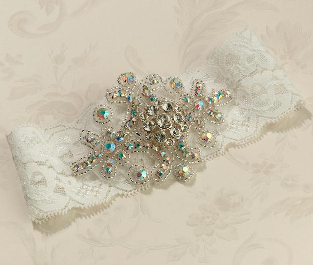 Lillian Rose Jeweled Garter - Ivory