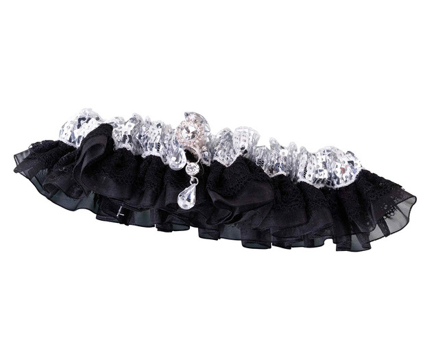 Lillian Rose Sequin & Satin Garter - Silver