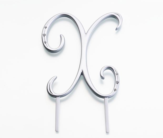 Lillian Rose Silver Rhinestone Monogram - Large X