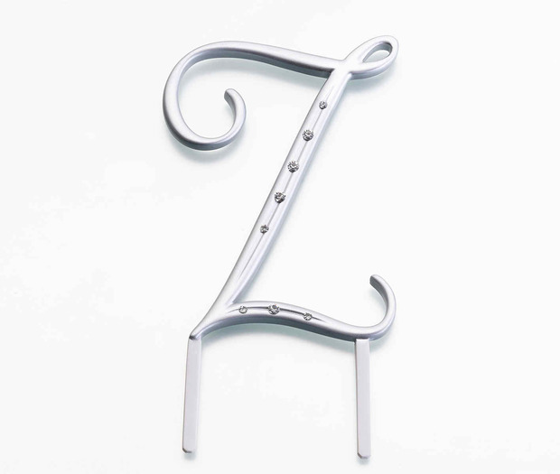 Lillian Rose Silver Rhinestone Monogram - Large Z