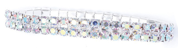 Mariell 2-Row Iridescent Rhinestone Stretch Bracelet